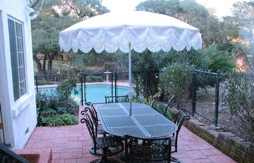 Villa Outdoor Dining w/ Cast Iron Swivel Rockers; Many Views including Vineyard