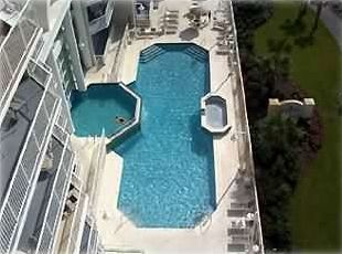 View of Multi-level Indoor/Outdoor Pool with Two Jacuzzi's from the Balcony