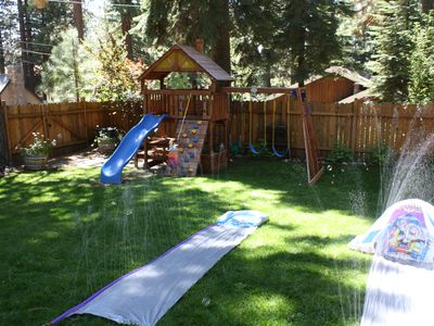Huge fully fenced back yard great for kids and pets. private hot tub.