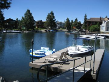 spacious 3 boat dock, plenty of room for fishing too