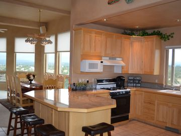 Open kitchen with views from each room