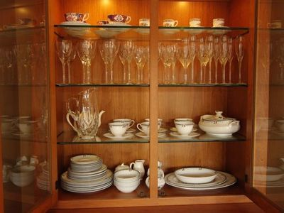 china cabinet - Royal Doulton china, Lenox crystal