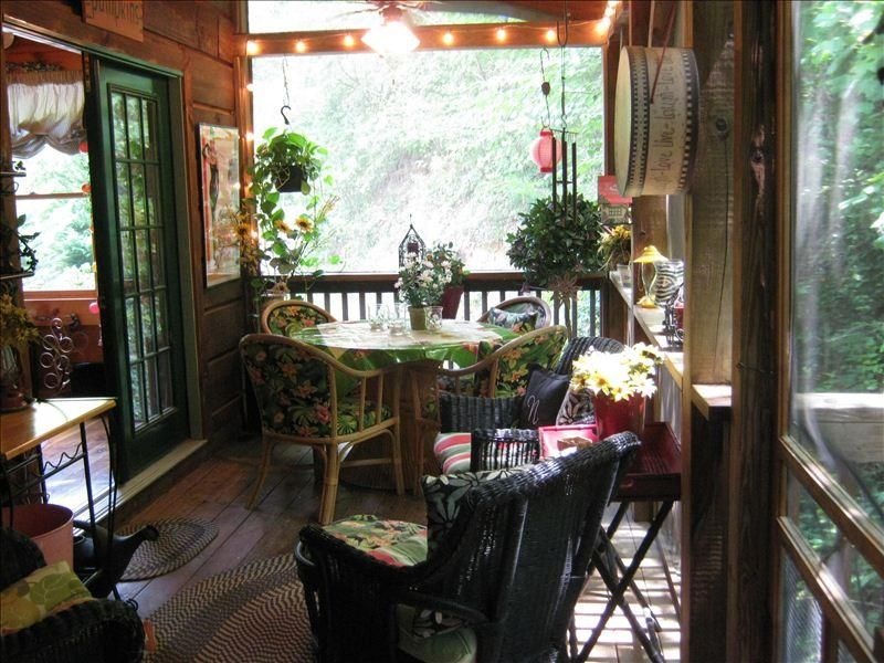 Breakfast on the screened porch...listening to the birds...