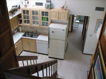 View down stairs from Mstr.Br.to kitchen & Din'g area and rear bedrooms