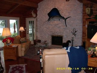 Angola house photo - Beautiful Fireplace and Vaulted Ceiling in Living Room. The home opens to yard.