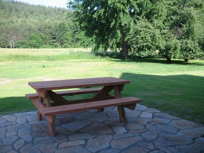 Backyard Picnic Table Grill (Propane) Wicker Chairs and Table Native ADK Stone