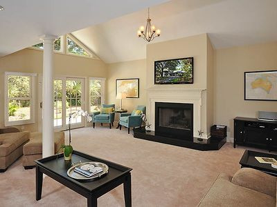 "Sea Pines house rental - Big, bright living room features comfy seating and 55"" HDTV with movie channels"