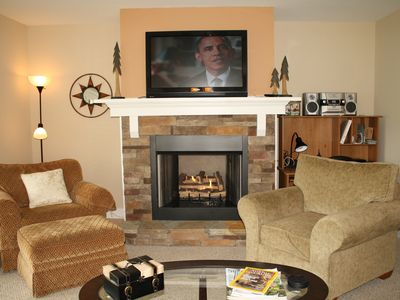 Cozy Gas Log Fireplace and Large Flat Screen Television