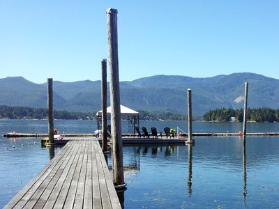Looking south from our dock on Sproat Lake; swim, play, bask and moor your boat!