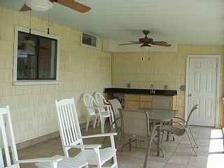 Isle of Palms house photo - Porch with ceiling fans/wet bar