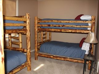 Sunriver house photo - Bunkroom with Full-size and Twin Bunks