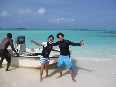 Our regular guests who love kite-surfing in Exuma.