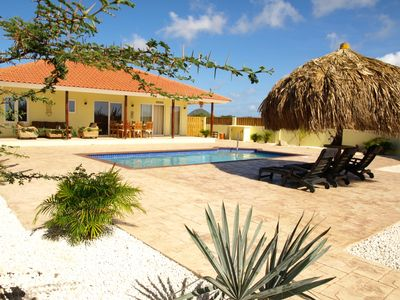 Aruba villa rental - Garden, palappa, pool and porch