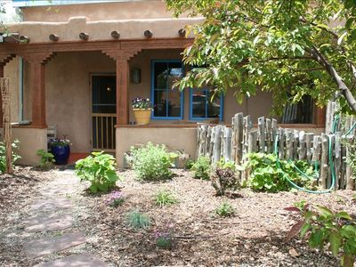 Welcome to Kiva! The shaded entry courtyard awaits you.
