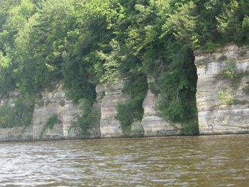 Take a canoe ride to see scenic rock walls that line the Wisconsin River.