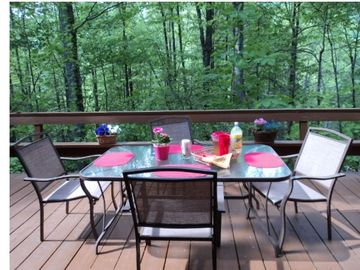 Patio set with 6 chairs (available) on the back deck.