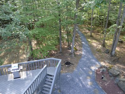 View of the deck and the path to the stream