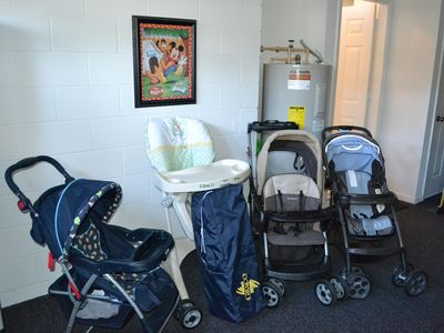 Child/baby Equipment- No need to rent a stroller at the parks!