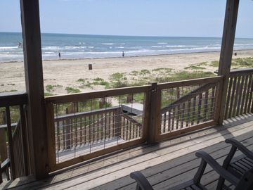 Galveston house rental - lower deck with latching gates 4/21/2014