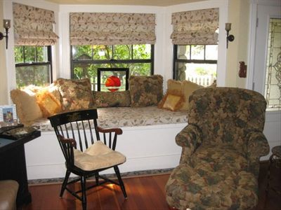 Cozy window seat in living room  bay window sleeps one comfortably