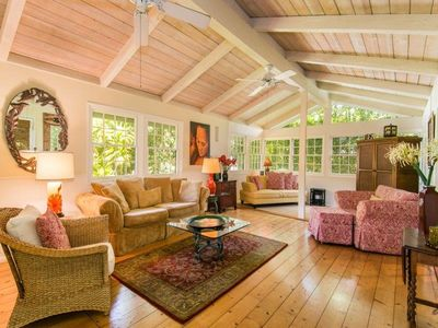 Relax in the comfort of a true Island Style Cottage just steps to Hanalei Bay.