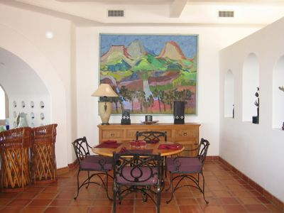 Cabo San Lucas villa rental - Dining Room area now with 6 chairs and ocean view.