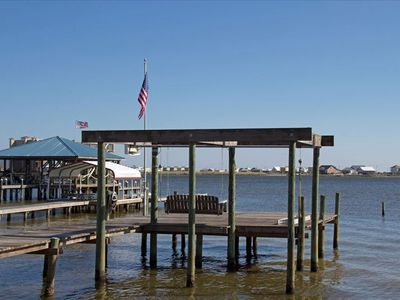 Private Pier with swing, enjoy swimming, fishing and crabbing right off the pier