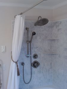 Plattsburgh house rental - Marble Shower & Tub
