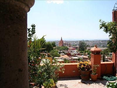 Upper patio overlooking the historical center of downtown San Miguel de Allende