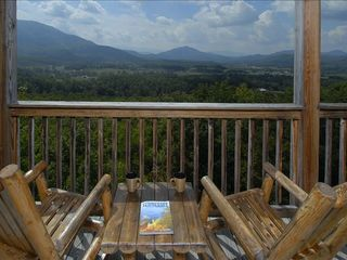 Wears Valley cabin photo - Pigeon Forge Secluded Cabin: Loft Deck with a SPECTACULAR View of Wears Valley