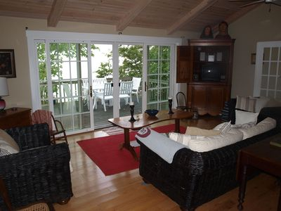 Living Room with lake view and deck