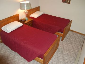 Downstairs bedroom with two twin beds