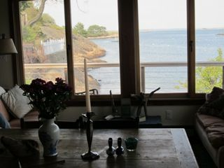 Houseboat feeling, mid tide, dining view, cliffs, Browns island far left point.