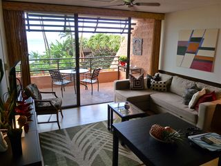 Lahaina condo photo - Living room and lanai overlook the Pacific