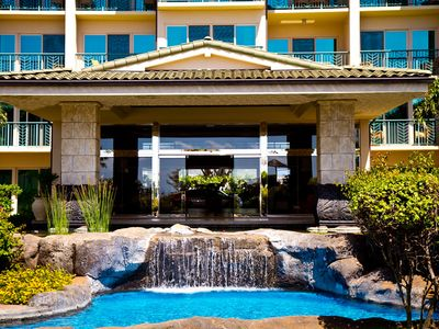 Kapaa condo rental - View Of One Of The Waterfalls. Our Unit D-101 Is On The Left Bottom