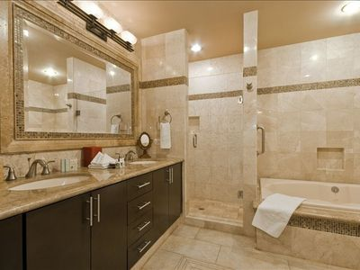 Granite Bathrooms and a Super Sized Tub