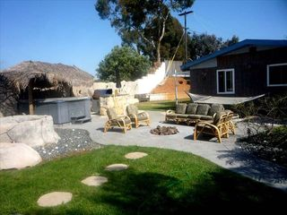Mission Valley house photo - L to R: koi pond, hot tub, gas BBQ, fire pit lounging area, oversized hammock