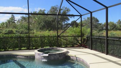 Private pool & spa backing on preserve area