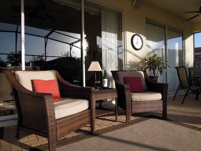 Comfortable patio furniture, weather station, ceiling fans, satellite speakers