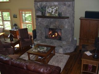 Cashiers house photo - Enjoy a new gas log fireplace with remote control