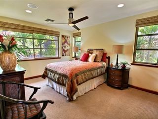 Kapalua house photo - Third Bedroom: ultra-premium queen bed, HDTV, views of lush tropical foliage.