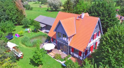 Half-timbered house with lake view for families and groups up to 23 persons