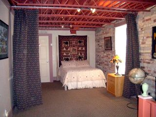 Saugatuck / Douglas apartment photo - Studio bedroom with privacy curtain.