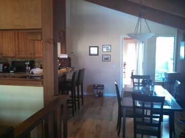 La Selva Beach house rental - view of dining area & kitchen from living room