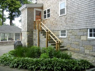 Rockport house photo - Stairs from Kitchen to driveway and yard