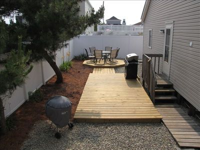 Private Back Yard has Decks with Gas and Charcoal Grills