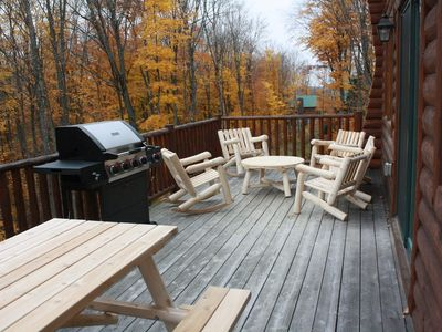 Outdoor deck - picnic table, gas grill and seating area for six.