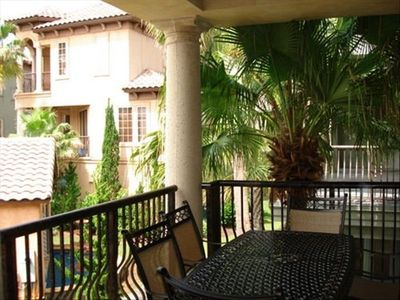 St. Tropez Destin house rental - Balcony overlooking pool with gas grill and 6 seat table