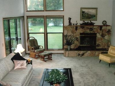 Medford house rental - Living room with a view of river.