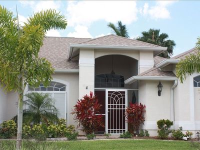 Front elevation of the Mediterranean-style Florida Gulf vacation rental home.